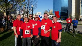 The Bohemia crew after they all completed the 5K charity run. L-R: Richard Andersen, Chris Smith, Kevin Albro, Frank Nuzzo, Sterling Haynes and Tom Iwanejko